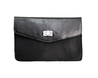 Statement clutch, large leather clutch, Fur clutch, Black pony hair clutch, Black clutch, evening purse, wallet, envelope purse, handmade