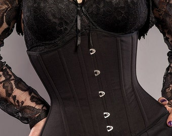 Black gothic steel underbust tightlacing corset