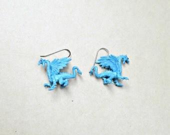 Blue Dragon Earrings, Fantasy Jewelry, Dragon Jewelry, Dragon Earrings, Frost Dragon Earrings