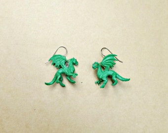 Green Dragon Earrings, Fantasy Jewelry, Dragon Jewelry, Dragon Earrings