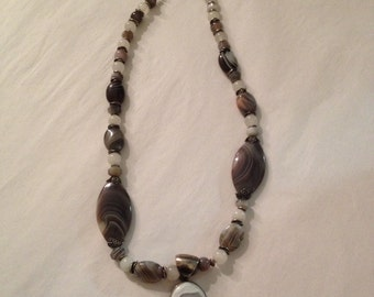 Vintage Sterling Silver and Purple Line Agate Stone Pendant Necklace