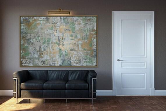 Huge, Large Original Abstract Painting modern gold gray sage green wall art extra large enormous any size by Marcy chapman bol'shaya kartina