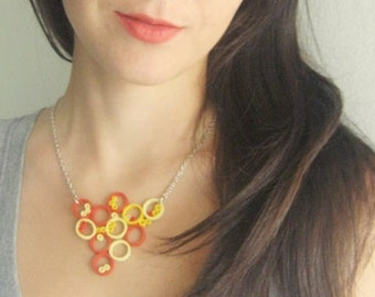 yellow and red necklace, circle necklace, geometric necklace, modernist necklace