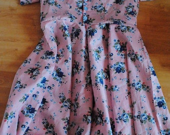 Age 7-8 pink floral swing dress with sleeves