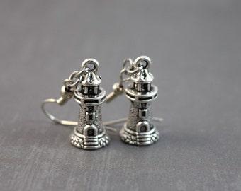 Lighthouse Earrings - Nautical Jewelry - Lighthouse Jewelry - Light Earrings - Charm Earrings - Costume Jewelry - Dangling Earrings