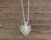 "Nova Scotia South Shore white heart shaped sea glass pendant with silverplate bail and 18"" chain (PW16)"