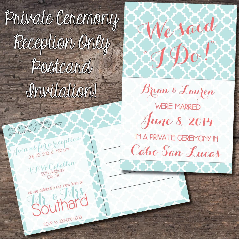 4x6 Postcard Reception Only Invitation Eloped Reception