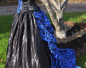 Victorian Dress Swirling Through Time Bustle Corset Steel Boned Custom Sized Steampunk Goth