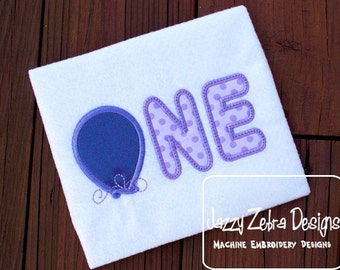 One Balloon Appliqué Embroidery Design - 1st birthday appliqué design - one year old