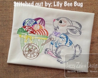 Bunny with Wagon Color Work Embroidery Design - Easter embroidery design - bunny embroidery design - rabbit embroidery design
