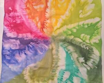 "Hand painted Rainbow, Multicolour Silk Shawl made in Salt technique. 26.4"" x 27.2"" / 67 x 69 cm."