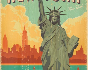 New York City and Statue of Liberty Vintage Art Print