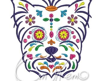 Machine Embroidery design - Calavera yorkshire terrier, Dia de los muertos, mexican design, halloween design, day of the dead