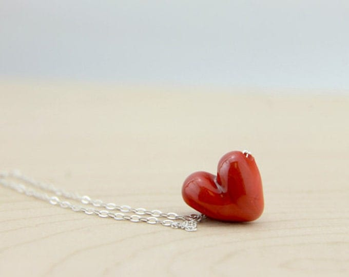 Granate Red 3 /heart shape pendant/ hand made/ sterling silver chain/ lamp work heart pendant by Destellos - Glass Art & Accessories