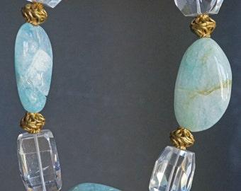 Rough cut Aquamarine and fancy cut Quartz necklace