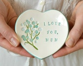 Mothers Day gift, I love you mum ceramic ring dish, pottery ring holder, gift for mum