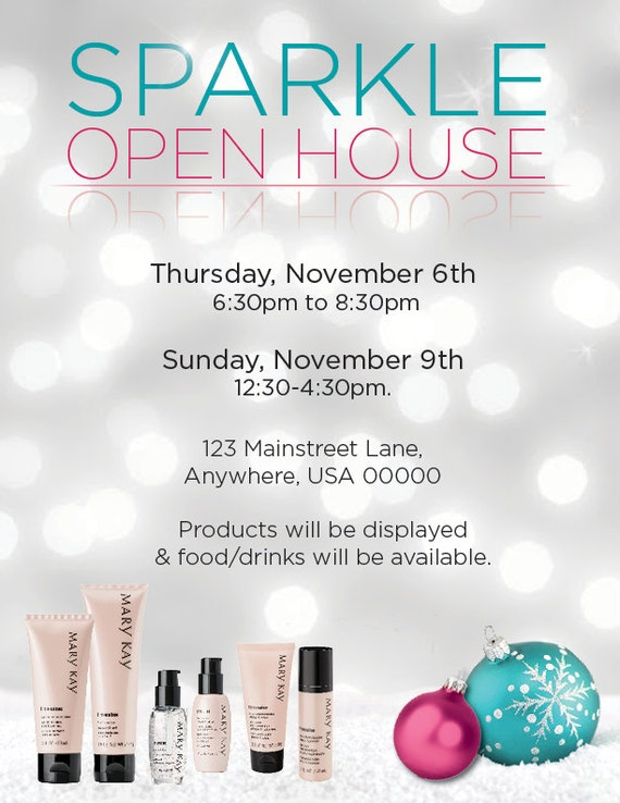 Items similar to mary kay sparkle open house invitation or for Mary kay invite templates