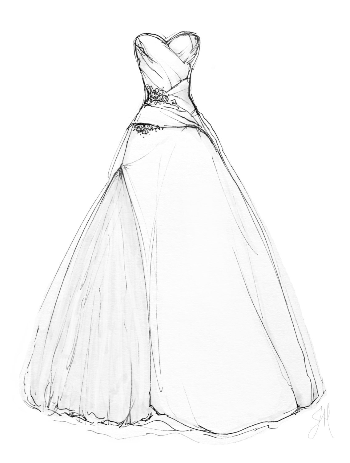 custom wedding dress illustration portrait 8x10