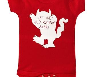 Let the Wild Rumpus Begin bodysuit inspired by Where the Wild Things Are, Cute Where the Wild Things Are, Baby Baby Bodysuit, Funny Baby