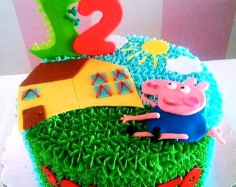 Edible Fondant Theme Inspired Peppa Pig Cake Toppers Flat Set