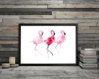 Three Flamingos Pink Birds Wall Painting Flamingo Watercolor Art Print