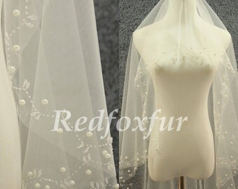 Cathedral Veil 1 tier Ivory Veil Hand-beaded Bridal Veil 3m veil Wedding dress Veil Wedding Accessories No comb