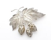 Dutch Sterling Silver Filigree Brooch - 1950s Vintage- Hops - Hop Plant - Bouquet Brooch - Antique / Vintage Filigree