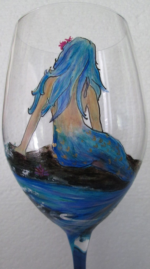 Mermaid with rainbow and dolphins wine glass