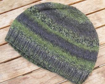 Handspun, Handknit Wool Hat. Camo Green/Black/Gray Striped Beanie