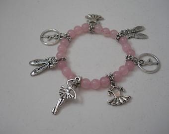 Ballerina Charm Bracelet,Charm Bracelet,Ballerina Bracelet,Beaded Bracelet,Ballerina,Bracelet,Pink Bracelet Bracelet,Jewelry,Ballerina Charm