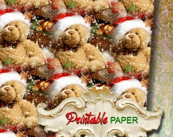 BEAR SNOWFLAKE - Printable wrapping paper for Christmas gifts, Scrapbooking, Creat - Download and Print