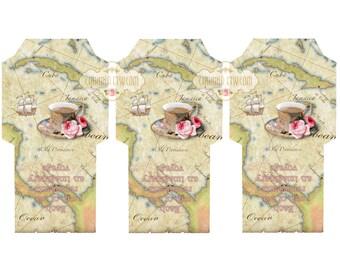 TEA APHORISM 2 - Printable Download Digital Collage Sheet Tea Bag Holder Envelopes - Paper Cut Template
