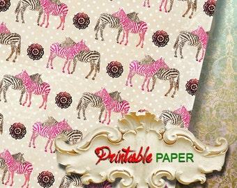 ZEBR -  Printable wrapping paper for Scrapbooking, Creat - Download and Print