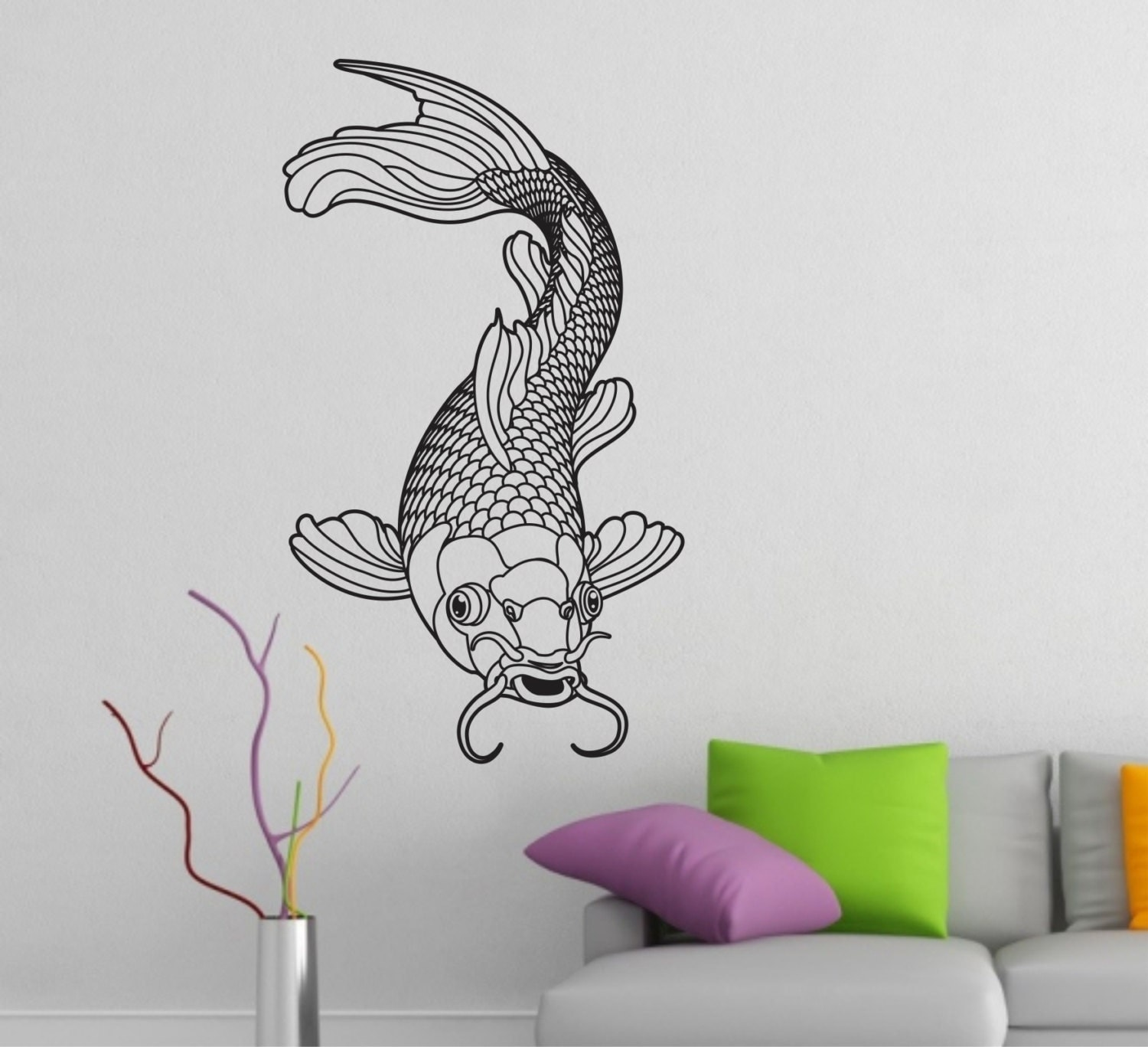 Koi wall decal vinyl sticker decals art decor tattoo inspired for Koi wall decal
