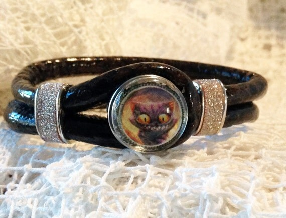 Cat Bracelet Alice in Wonderland Cheshire Cat Fantasy Brown Leather Snakeskin style Bangle Bracelet with Jeweled Strips