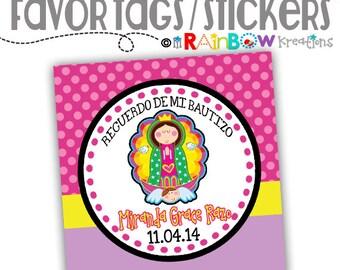 FVTAGS-175: DIY -Virgencita Plis 2 Favor Tags Or Stickers