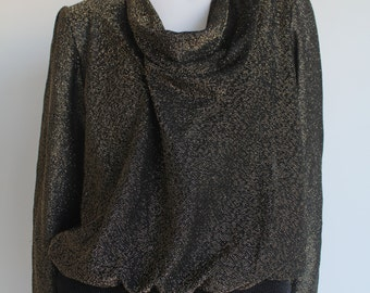 Cowl Neck Black and Gold Thread Sheer Formal Blouse