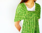Bright green summer scarf. Cotton shawl scarf. Loose knit scarf. Hand knitted scarf. Gift idea for her // Women accessories