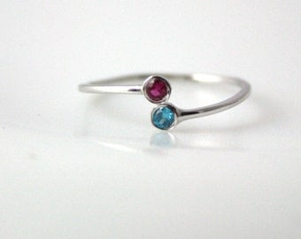 Birthstone Ring - Mothers Rings Birthstones - Birthstone Rings For Mom - Mothers Jewelry - Thin Gold Ring - Gift For Mom - Gift for her