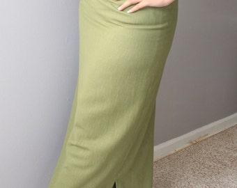Long Midi Olive Skirt/ Slim Skirt /Olive color/high waist skirt /long pencil skirt/ Office skirt