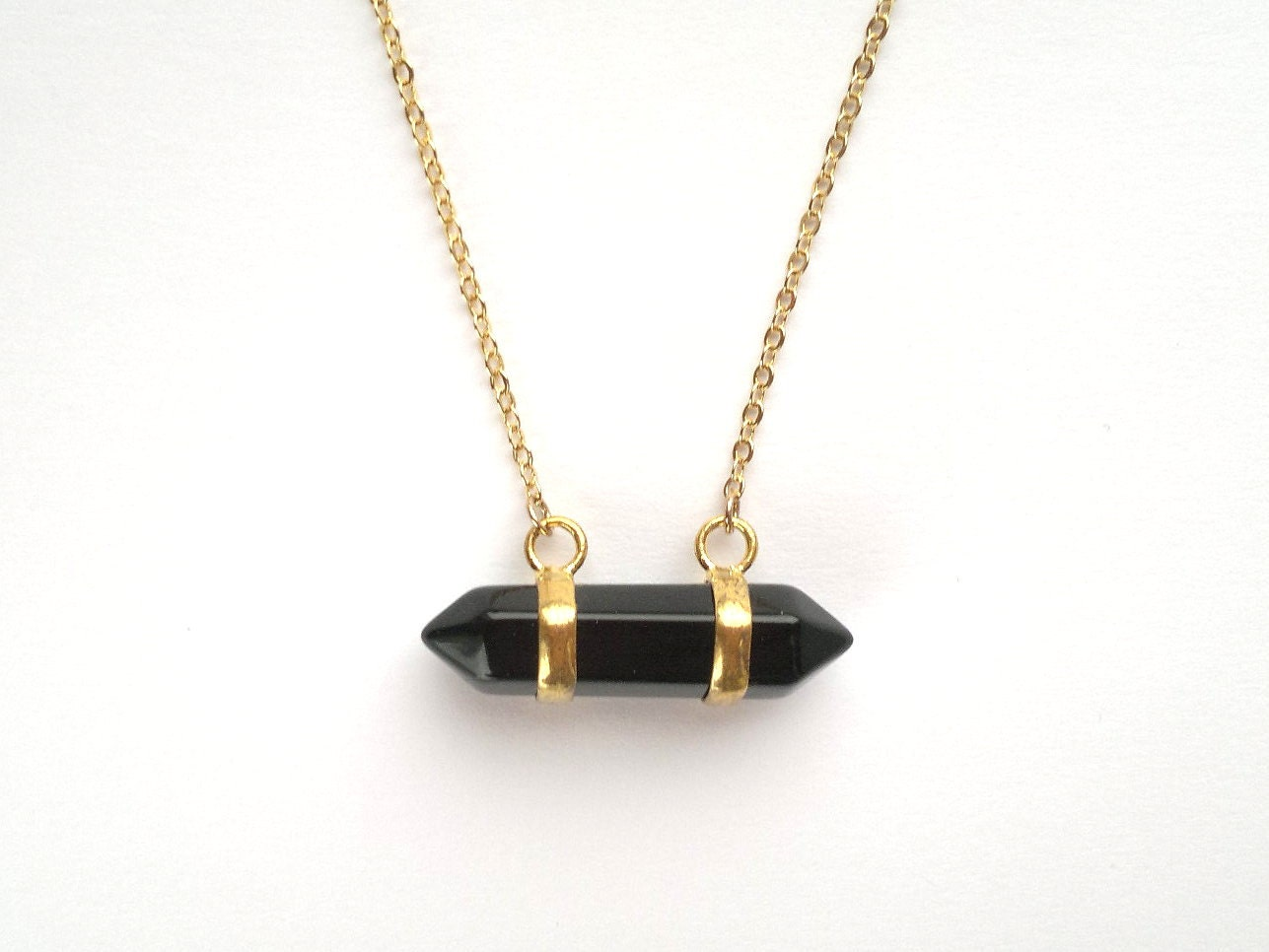 black agate necklace horizontal point necklace