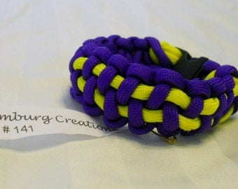 Neon Yellow and Purple Violet 6.5 Inch Paracord Bracelet Item #141