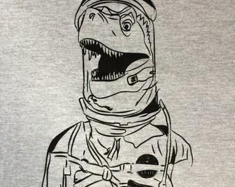 Astronaut Dinosaur - Upset Trex in Spacesuit - Dinosaur Tee Shirt Black Ink on Gray Shirt
