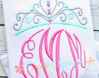 Princess Crown Monogram Topper Machine Embroidery Design 6 Sizes Elegant Master Circle Font