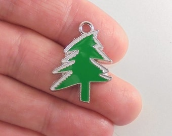 5 Christmas Tree charms, silver with green and white enamel, 26x20mm
