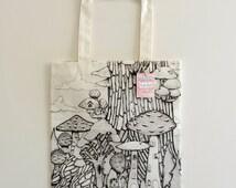 Handmade Printed Cotton Canvas Tote Bag with Mushroom village Illustration by Carla Adol