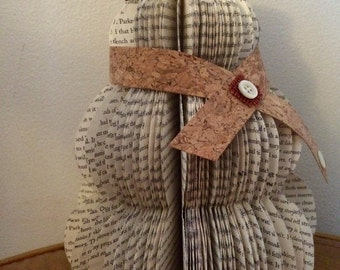 Book Page Snowman, Decoration, Cabin, Cork, Winter, Christmas decor, wedding, gift, Snowmen, holiday decor, burlap, book page art, sculpture