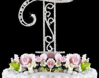 "Beautiful Crystal Rhinestone Silver Letter ""T"" Monogram Wedding, Anniversary & Birthday Cake Topper *FREE SHIPPING*"