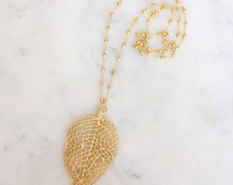 Large Gold Leaf Necklace
