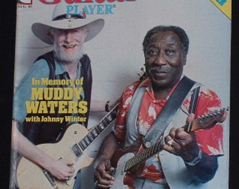 Muddy Waters,Johnny Winter,Stevie Ray Vaughan August 1983 Guitar Player Magazine